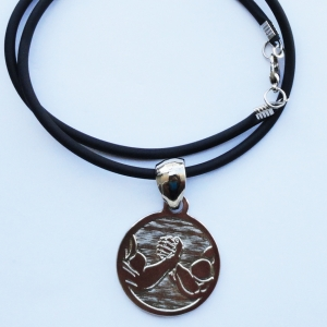 Arms in circle silver pendant