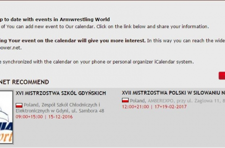 Calendar for armpower.net # Armwrestling # Armpower.net