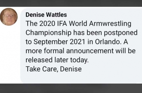 Unfortunately! World Championship postponed! # Armwrestling # Armpower.net
