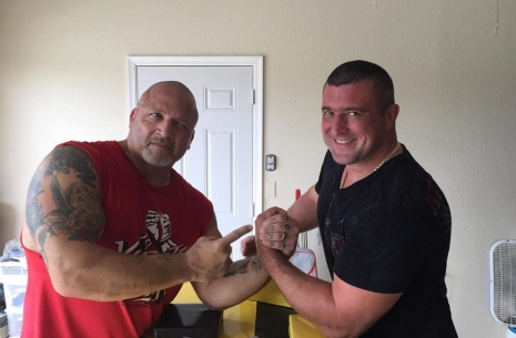Andrei Pushkar is meeting Devon Larratt in the US. # Armwrestling # Armpower.net